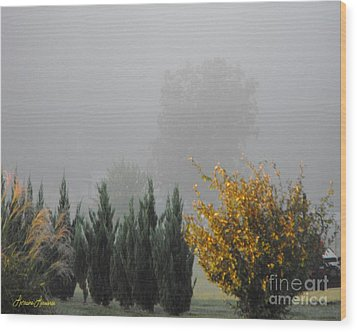 Misty Fall Day Wood Print by Lorraine Louwerse