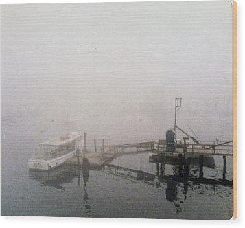 Misty Harbor Rye Beach Wood Print