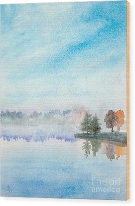 Misty Lake Wood Print by Yoshiko Mishina