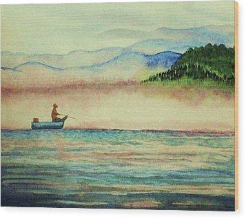 Misty Morning Catch Wood Print by Jeanette Stewart