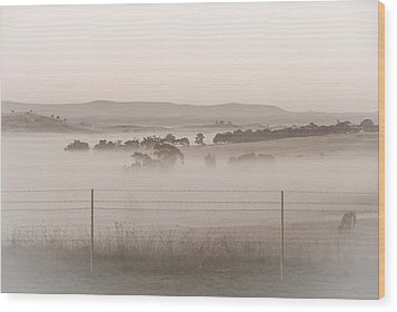 Misty Morning In The Country 2 Wood Print
