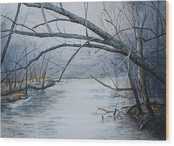 Wood Print featuring the painting Misty Morning On The Red River by Patsy Sharpe