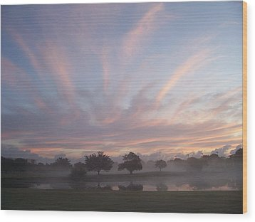 Misty Morning Sunrise Wood Print