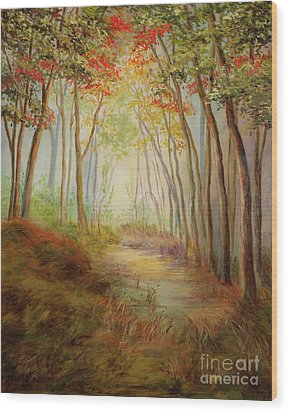 Misty Path Wood Print by Vic  Mastis