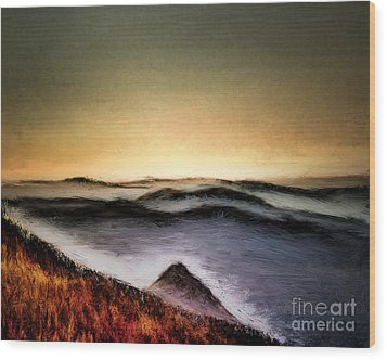 Misty Sunrise Wood Print by Arne Hansen