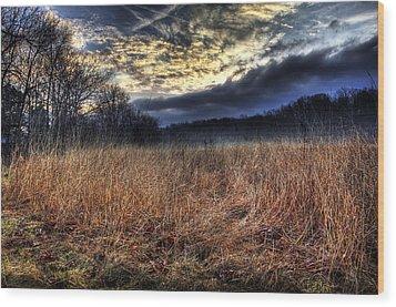 Misty Sunrise Wood Print by Mark Six