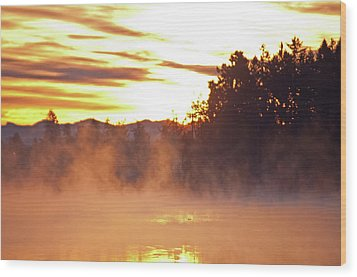 Misty Sunrise Wood Print by Tikvah's Hope