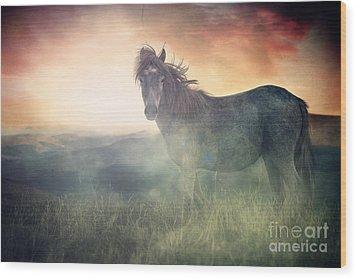 Misty Sunset Wood Print by Lee-Anne Rafferty-Evans