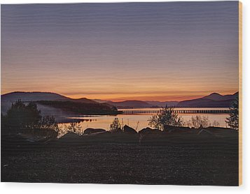 Misty Sunset Wood Print by Marie-Dominique Verdier