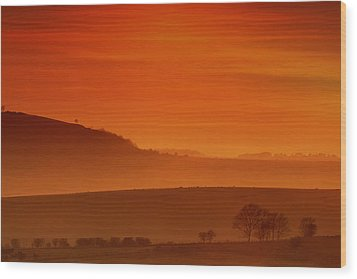 Misty Sunset Wood Print by Mark Leader