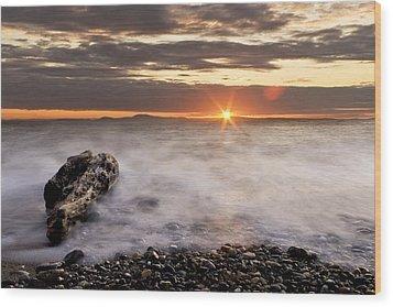 Misty Sunset Wood Print by Tony Locke