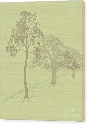 Misty Trees Wood Print by Michelle Bergersen