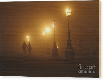 Misty Walk Wood Print by Urban Shooters
