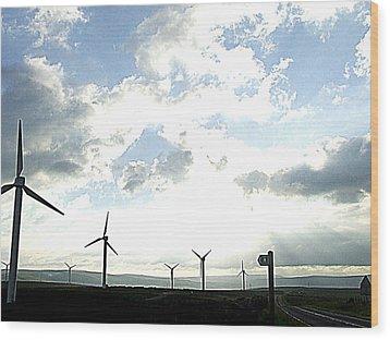Misty Windmills Wood Print by Rusty Woodward Gladdish