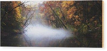 Misty Wissahickon Creek Wood Print by Bill Cannon