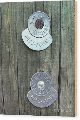 Wood Print featuring the photograph Mitc Fume Tags On Light Pole by Renee Trenholm