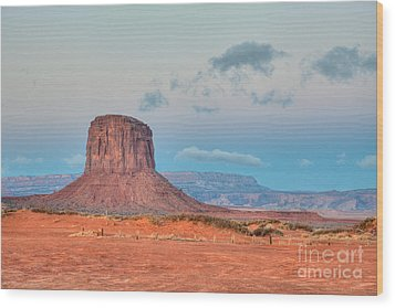Mitchell Butte In Monument Valley Wood Print by Clarence Holmes