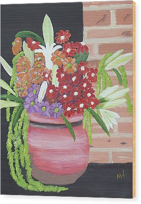 Wood Print featuring the painting Mixed Flowers In Orange Crock by Margaret Harmon