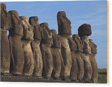 Moai Along The Coast Of Easter Island Wood Print by Stephen Alvarez