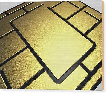 Mobile Phone Sim Card Chip Wood Print by Pasieka