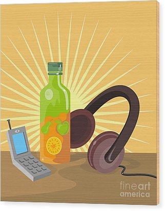 Mobile Phone Soda Drink Headphone Retro Wood Print by Aloysius Patrimonio