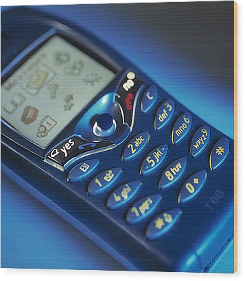Mobile Phone Wood Print by Tek Image
