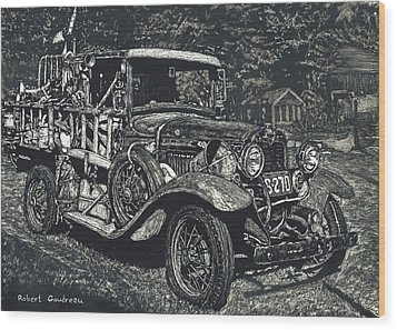 Model A Ford Wood Print by Robert Goudreau
