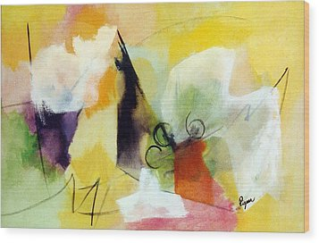 Modern Art With Yellow Black Red And Fanciful Clouds Wood Print by Betty Pieper