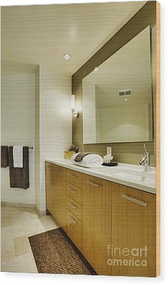 Modern Bathroom Interior Wood Print by Andersen Ross