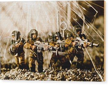 Modern Battle Field Wood Print by Marc Garrido