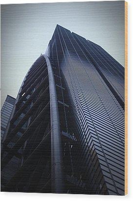 Modern Building In Tokyo Wood Print by Naxart Studio