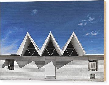 Modern Building Roofing Wood Print by Eddy Joaquim