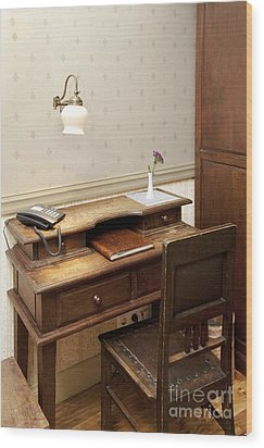 Modern Phone On An Old Fashioned Desk Wood Print by Jaak Nilson