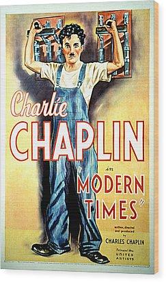 Modern Times, Charlie Chaplin, 1936 Wood Print by Everett