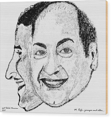 Mohammed Rafi Sketch Younger And Older Wood Print by Ashok Naraian