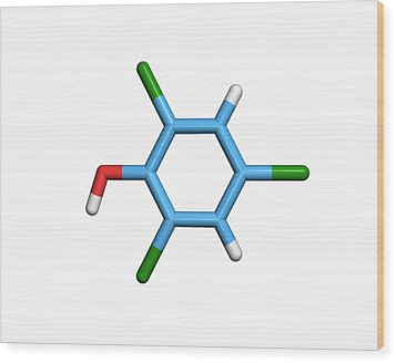 Molecule Of A Component Of Tcp Antiseptic Wood Print by Dr Tim Evans