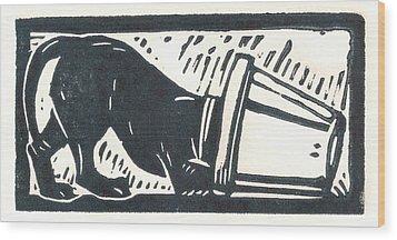 Molly Vs. Bucket Wood Print by Jennifer Harper