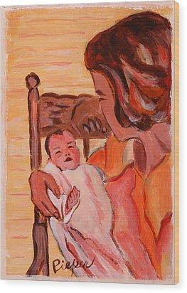 Mom And Me In Hazleton Pennsylvania  Wood Print by Elzbieta Zemaitis