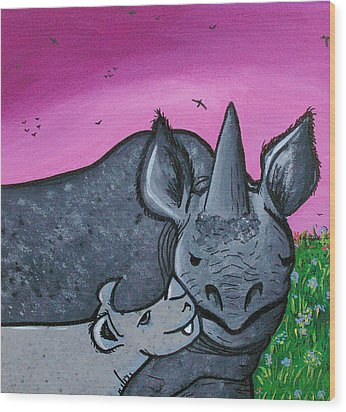 Momma And Baby Rhino Wood Print by Jera Sky