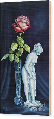 Moms Rose Dads Statue Wood Print by Gilee Barton