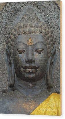 Mon Stone Buddha Head - Thailand Wood Print by Craig Lovell