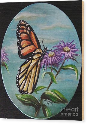 Wood Print featuring the painting Monarch And Aster by Karen  Ferrand Carroll