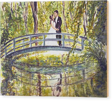 Wood Print featuring the painting Monet Wedding by Clara Sue Beym