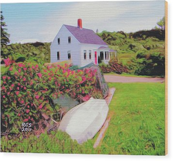 Wood Print featuring the digital art Monhegan Cottage by Richard Stevens