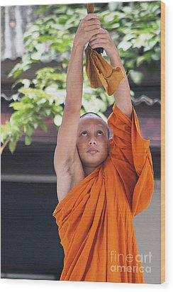 Wood Print featuring the photograph Monk In The Bell Tower #2 by Nola Lee Kelsey