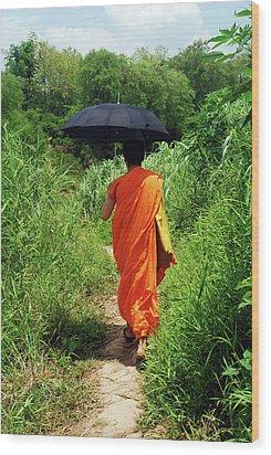 Monk Walking, Luang Prabang, Laos Wood Print by Thepurpledoor