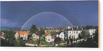 Monkstown, Co Dublin, Ireland Rainbow Wood Print by The Irish Image Collection