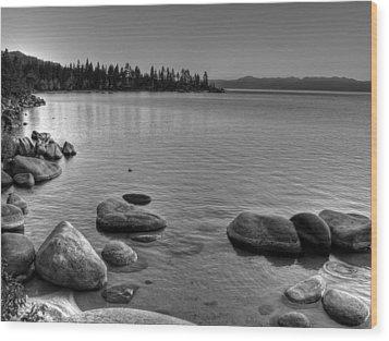 Monochrome Lake Tahoe Sunset Wood Print by Scott McGuire
