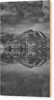 Monochrome Mountain Reflection Wood Print