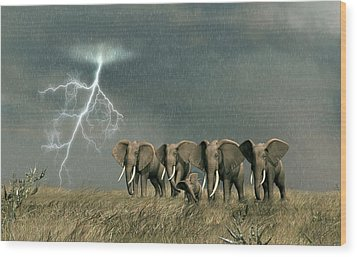 Monsoon On The Serengeti Wood Print by Walter Colvin
